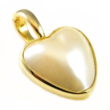 9 carat yellow gold heart shaped mabe pearl enhancer.